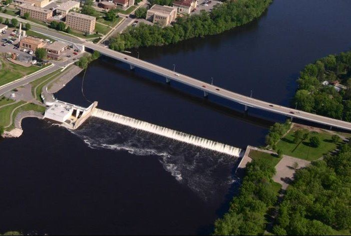 Aerial Photo of St. Cloud, MN Hydroelectric Dam and Mississippi River