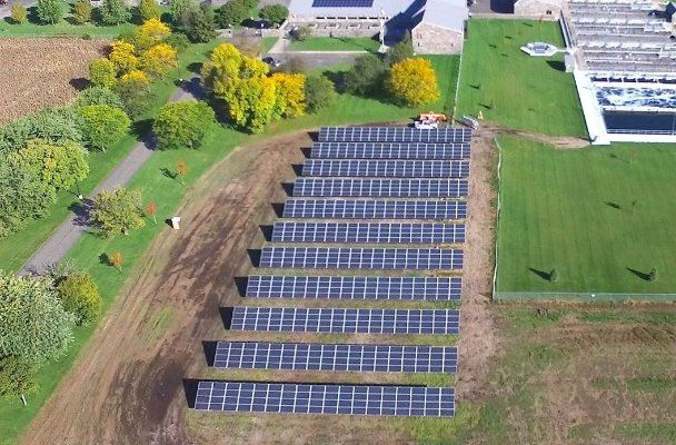 Aerial Photo of the  St. Cloud Wastewater Treatment Facility and it&#39s Solar Farm