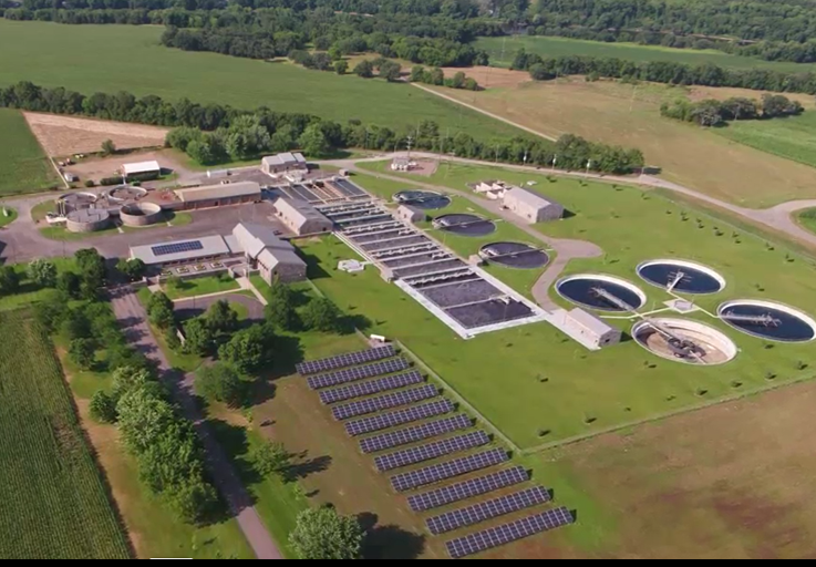 Aerial photo of St. Cloud Wastewater Treatment Center and outbuildings