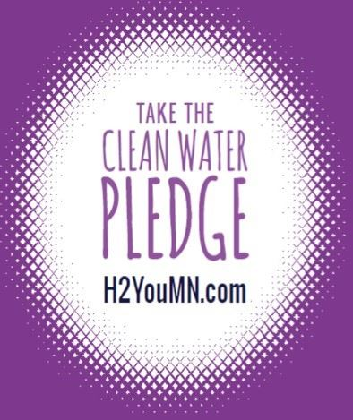 Purple and white logo that says Take the Clean Water Pledge