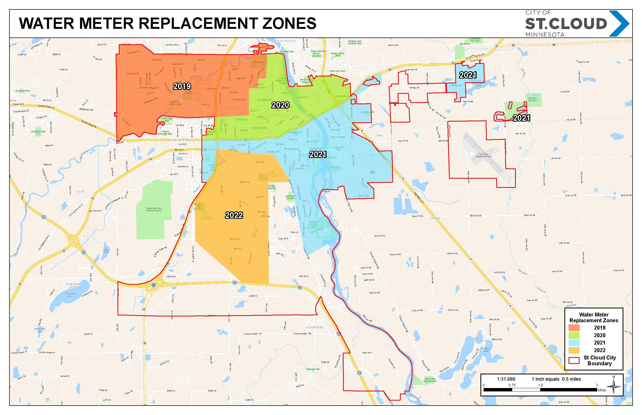 Map of meter replacement zones in St. Cloud, MN