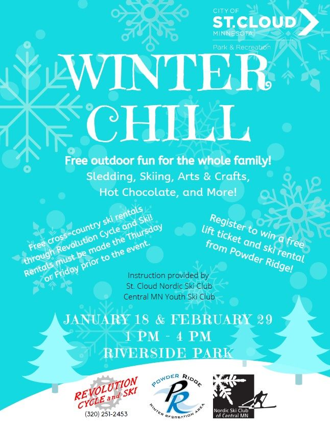 Winter Chill Event Flyer, advertising a free outdoor event at Riverside Park on January 18 and Febru