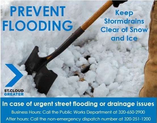 Notice to call St. Cloud Public Works or non emergency dispatch to report flooding