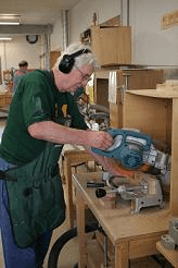 Man working in the woodshop