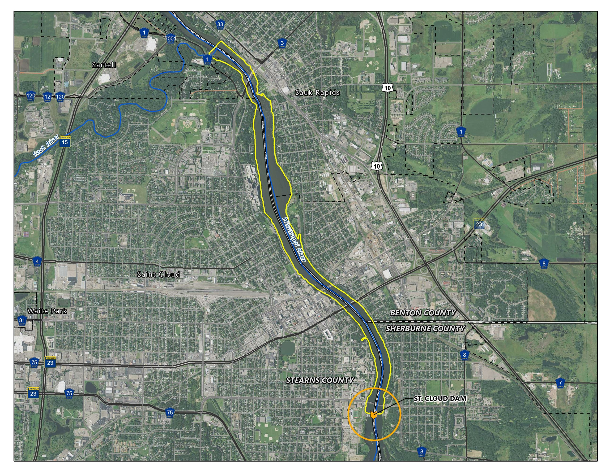 Map of St. Cloud, MN with hydroelectric project location highlighted